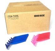 1,000 Box Combo Pack of Blue & Pink Bulk Disposable Twin Blade Razors for Men & Women