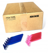 500 Box Combo Pack of Blue & Pink Bulk Disposable Twin Blade Razors for Men & Women