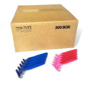 200 Box Combo Pack of Blue & Pink Bulk Disposable Twin Blade Razors for Men & Women