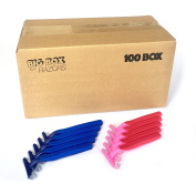 100 Box Combo Pack of Blue & Pink Bulk Disposable Twin Blade Razors for Men & Women
