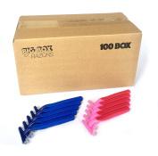 100 Box Combo Pack of Blue & Pink Bulk Disposable Twin Blade Razors for Men & Women