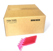 1,000 Box of Quality Pink Bulk Disposable Twin Blade Razors for Women