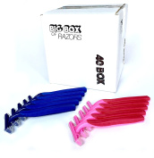 40 Box Combo Pack of Blue & Pink Bulk Disposable Twin Blade Razors for Men & Women