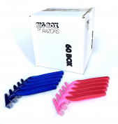60 Box Combo Pack of Blue & Pink Bulk Disposable Twin Blade Razors for Men & Women