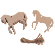 Dovewill 10Pieces Wood Horse Shape Cut Out Ornament Embellishment Tag with String