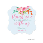 Andaz Press Pink Roses English Tea Party Tea Party Baby Shower Collection, Personalised Fancy Frame Gift Tags, Thank You for Celebrating With Us, 24-Pack, Chloe's Bridal Shower Custom Name