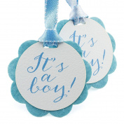 Summer-Ray 50pcs It's a Boy Double Layer Baby Shower Favour Gift Tags