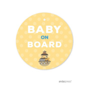 Andaz Press Noah's Ark Baby Shower Collection, Round Circle Gift Tags, Baby on Board!, 24-Pack