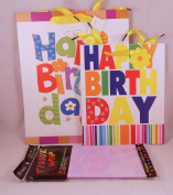 Happy Birthday Party Gift Bag Bundle Assorted 3 Pieces 1 Large Gift Bag 1 Medium Gift Bag 1 Package Tissue Paper