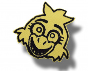 [Single Count] Custom and Unique (10cm Inch) Creepy Chick Chicken Design Iron On Embroidered Applique Patch {Black & Yellow Colours}