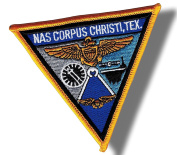 [Single Count] Custom and Unique (10cm Inch) Triangular Simple Basic Military N.A.S. Corpus Christi Texas Design Iron On Embroidered Applique Patch {Black, Blue, & White Colours}