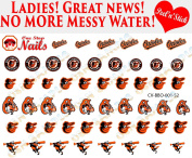 Baltimore Orioles Clear Vinyl PEEL and STICK Nail Decals (NOT WATERSLIDE) Set of 52 by One Stop Nails