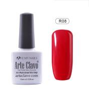 Arte Clavo UV Led Varnish Nail Art Soak Off UV Gel Nail Polish Red Series 10ml R08