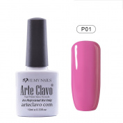 Arte Clavo UV Led Varnish Nail Art Soak Off UV Gel Nail Polish Pink Colour Series 10ml P01