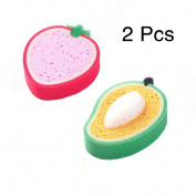 Perfect For Exfoliating!2 Pcs Double Sided Fruit Shape Natural Baby Bath Konjac Sponge Adult Spa Exfoliator Face Washing Cleansing