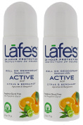 Lafe's Active Roll On Deodorant (Pack of 2) With Citrus, Witch Hazel and Jasmine, 70ml Each