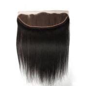 KEYU Remy Straight Virgin Hair Lace Frontal Closure 33cm ×10cm Ear to Ear Straight Lace Closure Free Part 25cm - 60cm Natural Black #1B