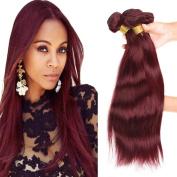 XCCOCO Hair 8A Peruvian Virgin Straight Hair Weave Bundles Deal 4pcs/set Remy Silk Straight Hair Extensions Wine Red Pure 99j# Colour 100g/Bundle