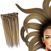 Standard Weft 38cm 70g #12-613 Light Brown with Bleach Blonde Clip in 100% Real Remy Human Hair Extensions 7 Pieces 16 Clips Virgin Hair Ponytail Extensions