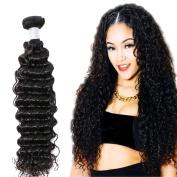 Gem Beauty Supply Hair Brazilian Virgin Curly Hair 3 Bundles Deep Wave Hair Weave Unprocessed Human Hair Extensions Nature Black
