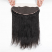 33cm x 10cm Full Lace Frontal Closure Ear To Ear Free Part Unprocessed Brazilian Virgin Hair Silky Straight Human Hair Extensions Top Lace Front Closures With Baby Hair Bleached Knots Natural Colour