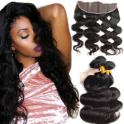 Superwigy Unprocessed 13×4 Lace Closure with 3 Human Hair Bundles Body Wave Nature Black for Black Women