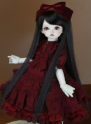 Topcosplay BJD DOD Cute Long Straight Wig Black for Doll 1/3 Size 20cm - 23cm