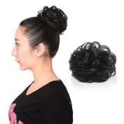 Synthetic Hair Scrunchy Wavy Curly Scrunchie Hairpiece Elastic Messy Hair Bun Updo Natural- Black #1B
