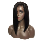 BeautyGal Straight Bob Lace Front Wigs Glueless Sided Part Full Synthetic Hair Wig 36cm
