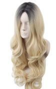 Women Wigs Hair Blonde Ombre Long Wave Natural Style Synthetic Fibre Halloween Costume Wig