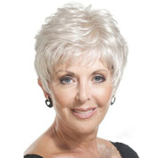 YX Women Puffy Straight Short Wig for Grandma Heat Resistant Synthetic Wigs With Bangs