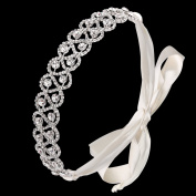 BABEYOND Women's Ribbon Headpiece Crystal Headband Bridal Headpieces for Wedding with Ivory White Satin Ribbon
