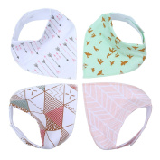 Leegoal(TM) Unisex Cute Waterproof 100% Cotton Soft Baby Bandana Drool Saliva Towel Bibs with Snaps , 1 Set/4 Pieces