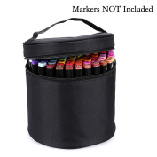 BTSKY Multifunction Marker Case -- Zippered Canvas Pen Bag Pencil Case stationery Storage for 80 Markers, Black