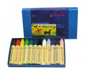 "Na)"" Lang= UT Kumar Beeswax Stick Crayon 12Color Paper Box ST31202 [ Japan Genuine]"