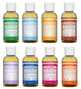 Dr. Bronner's 60ml Sampler- 8 Piece Gift Set. (5) 120ml Castile Liquid Soaps in Almond, Unscented, Citrus, Eucalyptus, Tea Tree, Lavender, Rose, and Peppermint