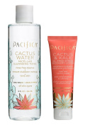 Pacifica Cactus Water Micellar Cleansing Tonic and Cactus & Kale Oil Free Recovery Lotion with Cactus Flower, Jasmine, Rosemary Leaf Water, Willow Bark Extract, Alfalfa and Aloe Vera, 240ml and 50ml