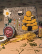Victorian Trading Co Felted Makeup Pouch w/ Lip Butter & Beeswax Bee Bar Lotion