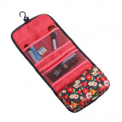 Portable Folding Toiletry Kit Mesh Pockets Cosmetic Travel Accessories Organisers Carry Case Waterproof Makeup Pouch Floral Printed Personal Organiser Bag with Hanging Hook for Travel Home Dorm