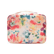 Ac.y.c Makeup Cosmetic Bag Toiletry Travel Kit Organiser-Multi-Function Cute Printed Pouch for Little Young Girl White Baroque