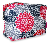 Ever Moda Pink Black Grey Floral Cosmetic Pouch