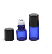 Ewandastore 30 Pcs 3ML Glass Roll on Refillable Bottles Vial with Stainless Steel Roller Balls and Black Cap for Fragrance Essential Oils- Perfect Size for Travel