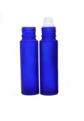 Ewandastore 50 Pcs 10ML Glass Roll on Refillable Bottles Vial with Glass Roller Balls and Black Plastic Lids for Fragrance Essential Oils Perfumes Lip Balms- Perfect Size for Travel-Blue