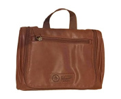 Penguin Men's Light Brown Leather Hanging Travel Toiletry Kit Bag