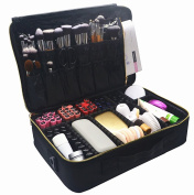 Makeup Train Case, FLYMEI Premium Large Space Cosmetic Organiser Professional Make Up Artist Storage for Cosmetics, Makeup Brush Set, Jewellery, Toiletry, Travel Accessories with Shoulder Strap
