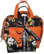 Three (3) Piece Cosmetic Overnight Set Black Orange Floral