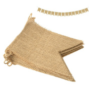 WENXIU 4.4 M/14Feet 15Pcs Burlap Banner,Linen Flag Banner Garlands Fabric Triangle Flags DIY Decoration for Wedding, Baby Shower and Party