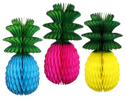 Multi-coloured Large 33cm Honeycomb Pineapple Decorations with Green Leaves