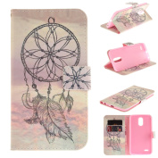 Leather Kickstand Case for LG Stylo 3(2017) with [Tempered Glass Screen Protector], Anti Scratch Flip Wallet Case, Magnetic Folio Case Cover for LG Stylo 3/Stylus 3/LS777-Dream Catcher 2