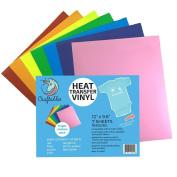 Craftables Heat Transfer Vinyl Bright Rainbow Bundle 30cm x 25cm - (7) Sheet Colour Pack of Assorted Colours - T-Shirt Vinyl, Iron On Vinyl, for Silhouette Cameo, Cricut - Ships Flat, Guaranteed Size